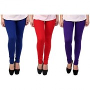 Stylobby Blue Red And Purple Kids Legging Pack Of 3