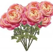 Merkloos 10x Roze rozen kunstbloemen 66 cm