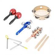 ammoon 6pcs Rhythm Band Set Tambourine Triangle Hand Bells Claves Bell Stick & Maracas for Kids Children Baby