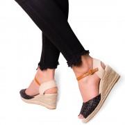 Sandale dama Jocasta cu platforma din panza de iuta, Negru 41