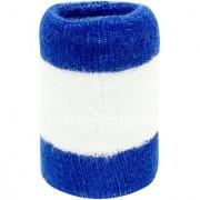 Neska Moda Unisex Pack Of 1 Dark Blue And White Striped Cotton Wrist Band WB44
