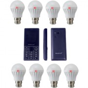 Alpha Combo Pack Of 8 Led Bulbs of 5 Watt With Free Feature Phone (One Year Replacement warranty)