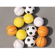 Baloray Pack of 6 Birthday Christmas Gifts Soft Mini Foam Basketball Soccer Football Softball Stress Squeeze Balls Boy Girl Party Miniature Ball Game Favors Fun Sports Outdoor or Indoor Play Toy