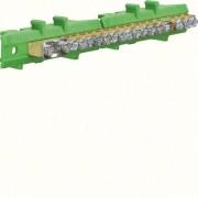 N/PE sín 1x25mm2+8x16mm2+8x10mm2, L=121,5mm, talpra szerelt, zöld (Hager KM17E)