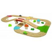 Plan Toys City Road and Rail Roadway Set