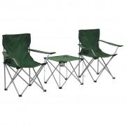 vidaXL Комплект маса и столове за къмпинг, 3 части, зелен