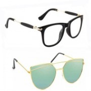 Elgator Spectacle , Over-sized Sunglasses(Clear, Green)