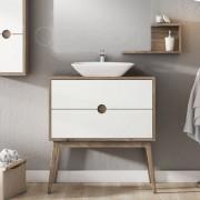 O'Design Meuble 2 tiroirs pour simple vasque 80 cm blanc - Baltic