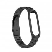 Three Beads Stainless Steel Watch Band for Xiaomi Mi Smart Band 4/Mi Band 3 - Black