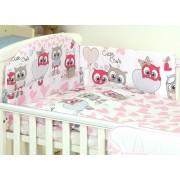 Mama Kiddies Baby Bear 5 részes babaágynemű 360°-os rácsvédővel pink-fehér színben baglyos mintával
