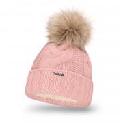 Zimowa czapka damska gruby warkocz PaMaMi - Pudrowy róż