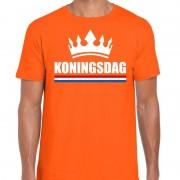 Shoppartners Oranje Koningsdag met kroon shirt heren