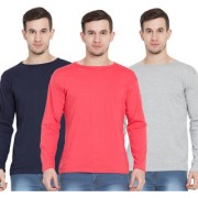 Cliths Men's Full Sleeves Tshirts Navy Blue Orange & Light Grey Cotton Round Neck Tshirts for Men