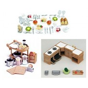 Three Furniture Sylvanian Families Sets - Food and Kitchen Theme - Dinner Set, Kitchen Appliances and Kitchen Cabinet