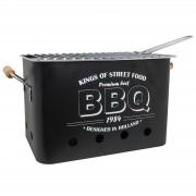 Merkloos Zwarte barbecue/bbq tafelmodel 34 x 22 cm houtskool