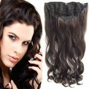 Clip in pás vlasů Jessica - 60 cm vlnitý pás - 6 - hnědá (6 (hnědá)) - Světové Zboží