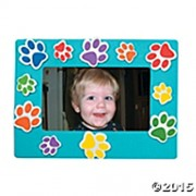 Set Of 24 Paw Print Magnetic Magnet Picture Frame Craft Kit Red, Orange, Blue, Purple, Lime Green, Yellow