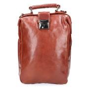 Leather Design Leren Rugzak / Schoudertas Cognac