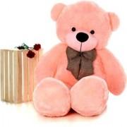 Multi Soft Fabric India Kid's 4 Feet Jumbo Teddy Bear Stuffed Soft Push Toy Good Quality Fabrics (Pink)