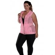 Colete Plus Size Tela Bolso e Ziper Rosa Florescente