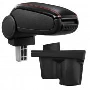 [pro.tec]® Reposabrazos central para Opel Adam - apoyabrazos con compartimento - tapizado - polipiel - negro con costuras de color rojo