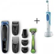 Комплект Тример за лице и коса Braun MGK3040, 7 в 1 + Самобръсначка Gillette + Електрическа четка за зъби Oral-B D12.513