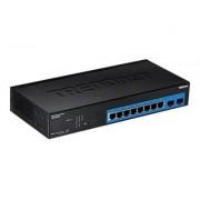 TRENDnet TPE 082WS - Commutateur - 10 x 10/100/1000 (PoE+) + 2 x SFP Gigabit partagé - Montable sur rack - PoE+ (75 W)