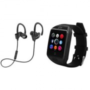 QC 10 bluetooth Headset and Q18 smart watch with sim card and memory card slot||Wireless || Wireless Headphone || Bluetooth Stereo Headphone ||Travelling Headphones AEJ_303