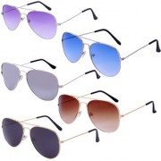 Amour Propre Dark-blue Brown Grey Purple Lens With Metal Frame (Pack of 5) Unisex Sunglasses
