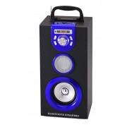 Hordozható hangszóró Bluetooth multimédia lejátszó Led világítás akkumulátorral Mp3,FM-Rádió, 3,5 jack, USB, Micro SD kártya 27x13cm - KA-18BT