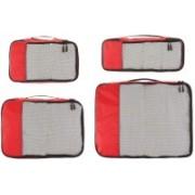 Shrih Travel Organizer - Small, Medium, Large, and Slim, Red (4-Piece Set)(Red)
