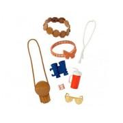 Accessoire Habit Barbie - Poupee Et Mini-Poupee - Sac A Main Beige + Lunettes De Soleil Jaunes + 6 Accessoires