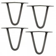 [en.casa]® Štýlové stolové nohy 2 – sada nôh (4 kusová) - 15 cm - strieborné