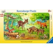 Puzzle Puiuti de animale in padure, 15 piese