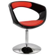 Design draaistoel 'SPACE' uit rood imitatieleder met zwarte zitschaal