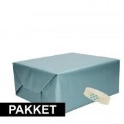 Merkloos 3x Blauw kraft inpakpapier met rolletje plakband pakket 9