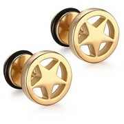 316L Stainless Steel Star Cut Round Gold Color Stud Earrings for Men Women Screw Back 2 pcs