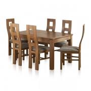 """Oak Furnitureland Rustic Solid Oak Dining Sets - 4ft 7"""" Dining Table with 6 Chairs - Orrick Range - Oak Furnitureland"""
