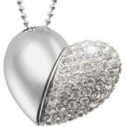 Green Tree Silver Hart Shape Crystal loveheart 16 GB Pen Drive(Silver)