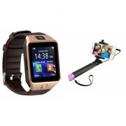 Zemini DZ09 Smart Watch and Selfie Stick for SAMSUNG GALAXY CORE PRIME VE(DZ09 Smart Watch With 4G Sim Card Memory Card| Selfie Stick)