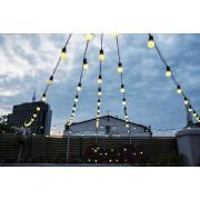 Ghirlanda luminoasa de inchiriat 10M cu 20 LEDuri mate, Cablu Negru, Lumina Calda, Conectabila 30M, De Exterior
