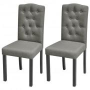 vidaXL Cadeiras de jantar 2 pcs tecido cinzento escuro