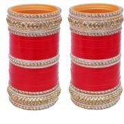 Lucky Jewellery Red Designer White Kundan Golden Stone Bridal Chuda Fashion Punjabi Choora Wedding Chura Set