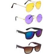 Elligator Aviator, Round, Wayfarer Sunglasses(Yellow, Violet, Blue, Brown)