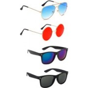 Elligator Aviator, Round, Wayfarer Sunglasses(Blue, Red, Black)