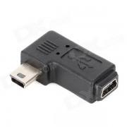 CY U2-064-LE mini USB macho a hembra adaptador de angulo para samsung / nokia-negro