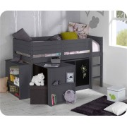 Set Cama media alta TAMIS 90x190cm Gris Antracita