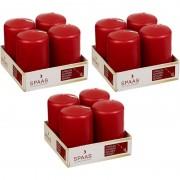 Candles by Spaas 12x Rode cilinderkaarsen/stompkaarsen 5 x 8 cm 12 branduren