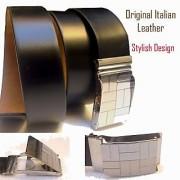 BLACK Mens Italian Leather waist belt with buckle gents formal stylish belts