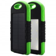 Acumulator extern solar IPX6 8000mAh , 2 USB, Lanterna, Green